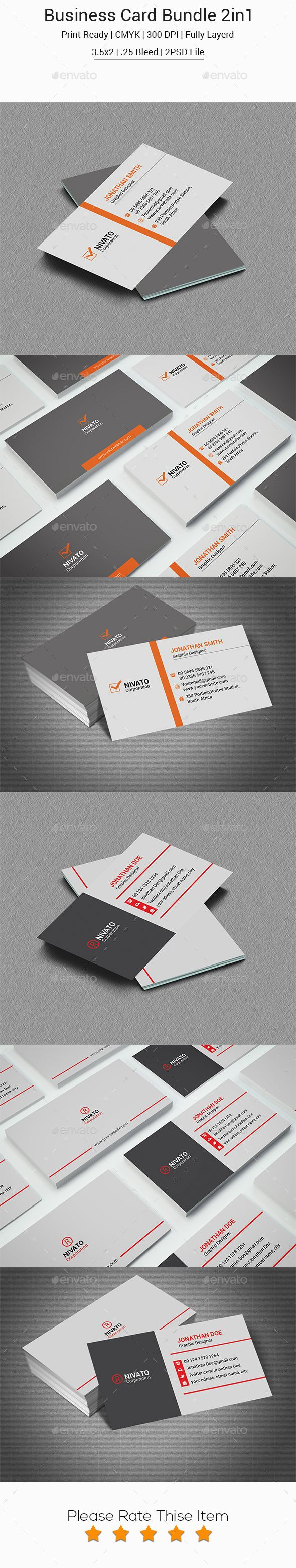 Corporate Business Card Bundle  — PSD Template #3.5x2 • Download ➝…