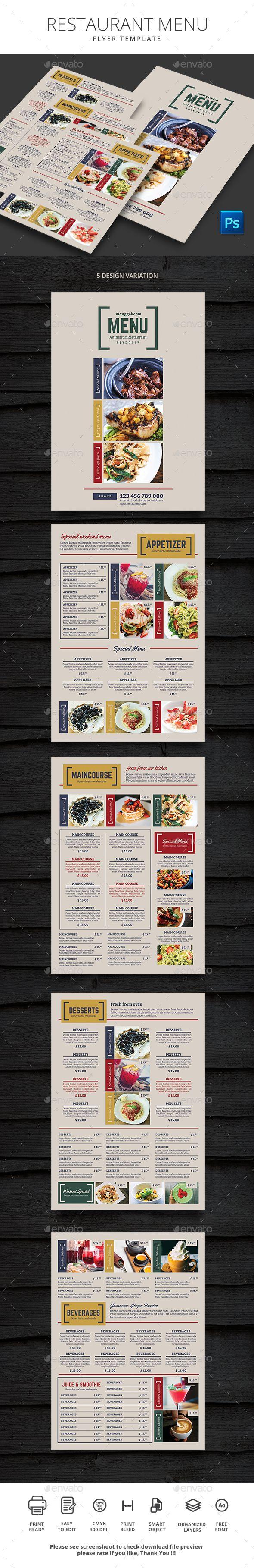 Restaurant Menu Food Menus Print Templates
