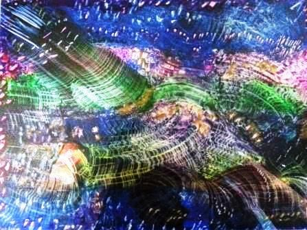 "This is a photo of one of my recent artworks called ""Universal Rollercoaster"" It is created with beeswax known as Encaustic art.For Sale"