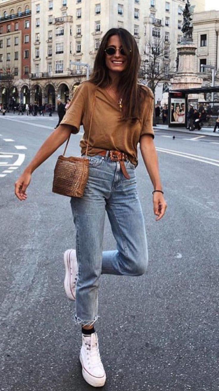 Casual style camel t-shirt with mom fit jeans Follow-> Büşra Çalışkan
