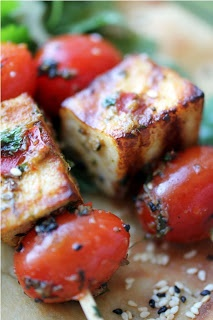 Some great Mezzé recipes, like grilled halloumi and tomato kebabs marinated in charmoula sauce, or Moroccan carrot salad, stuffed grape leaves...