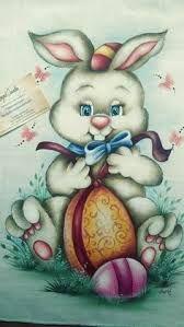 Resultado de imagem para pintura em tecido coelho da pascoa