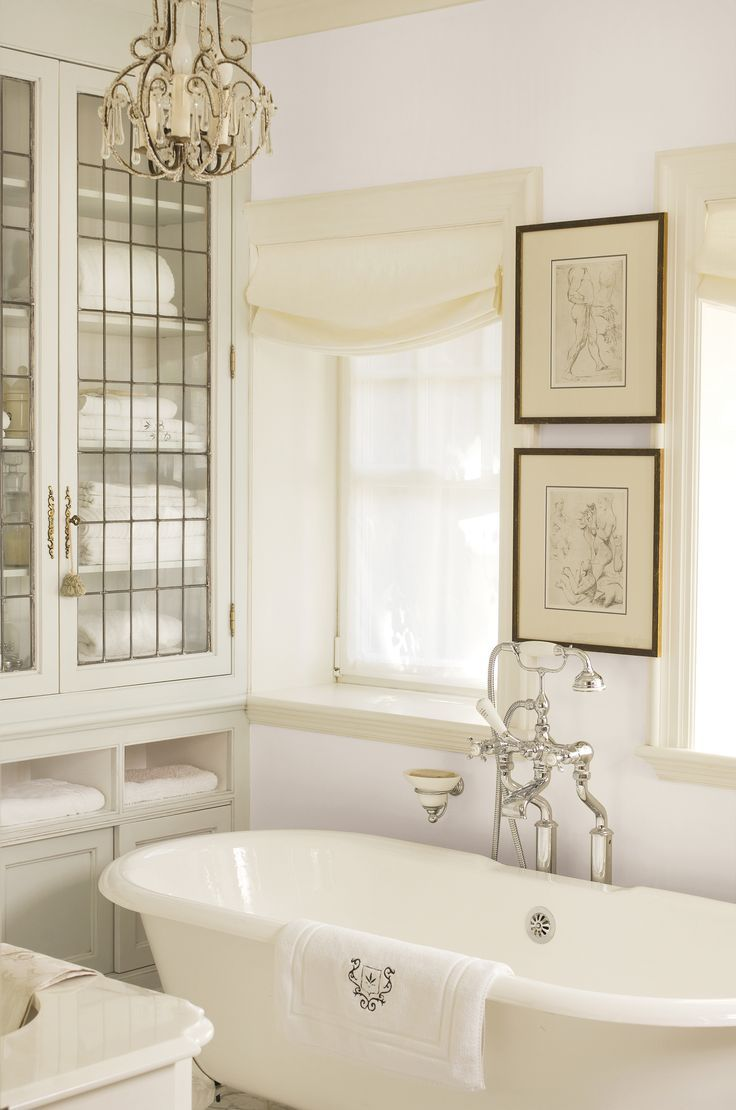 This Victorian Inspired Bath May Be Short On Space But It S Got Luxury To Spare Walls With Just A Wisp Of Taupe Home French Country Bathroom Dream Bathrooms