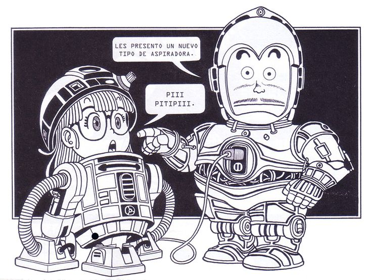 """Dr. Slump"" is known for having pop-culture references in the manga, like here for an example (""Star Wars"")."