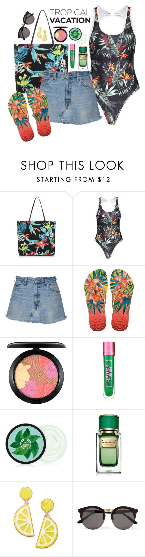 """go to the beach!"" by ruchirich on Polyvore featuring Matthew Williamson, Havaianas, MAC Cosmetics, Lipstick Queen, Dolce&Gabbana, Celebrate Shop and Illesteva"