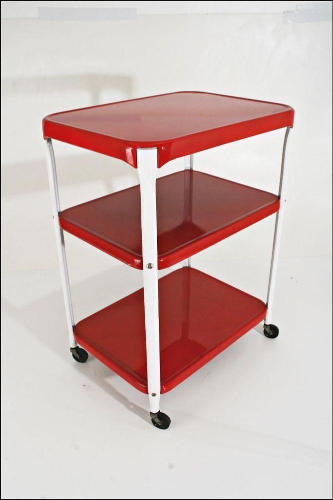 Vtg Cosco Rolling Cart Tea Kitchen Red Mid Century Modern