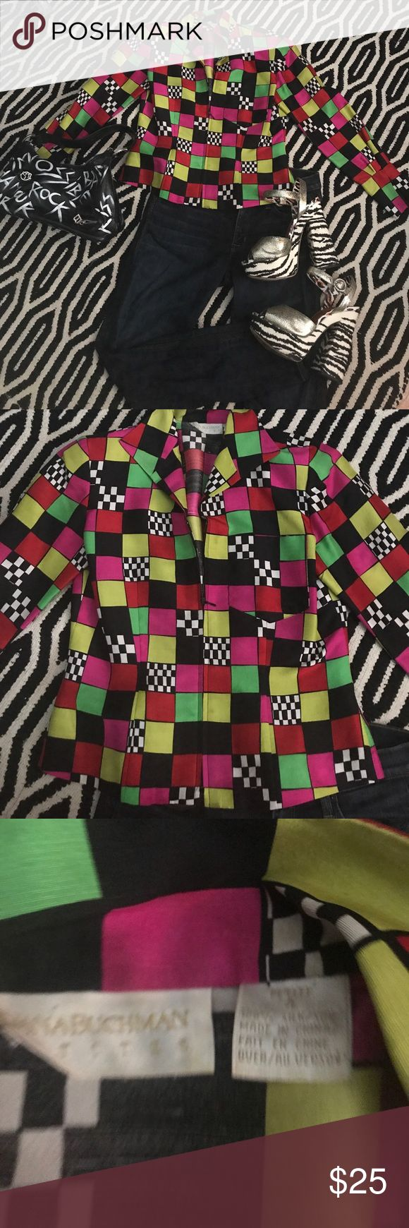 Vintage zip up shirt with shoulder pads 🏁 race around in this cool zip up shirt like jacket straight outa the 80's🏁 petite size 4 with shoulder pads.  Perfect condition  100% silk.  I love it⭐️ Dana Buchman Jackets & Coats