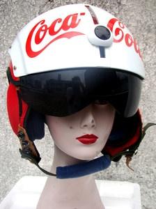 COKA COLA US Red Air Jet Fighter & Pilot Helmet Ship Worldwide