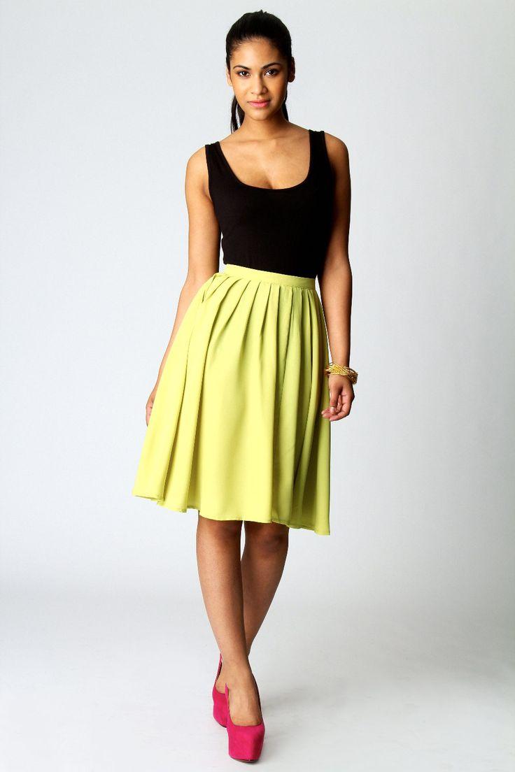 Boohoo Sonya Pleated Knee Length Skirt