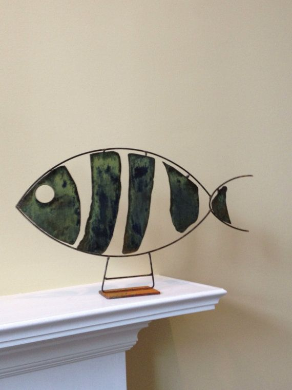 Abstract Scrap Metal Sculpture Fish by Bungalow214 on Etsy, $40.00