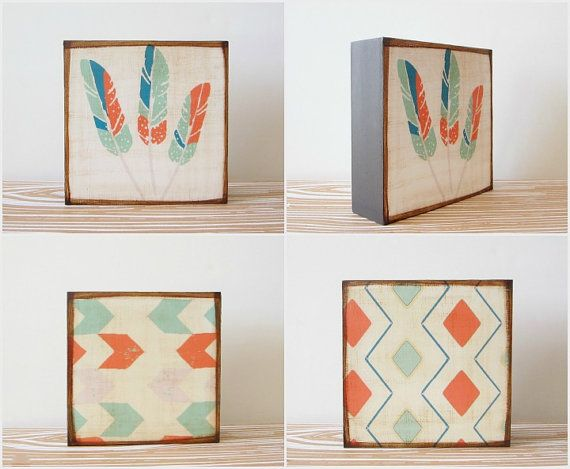 Nursery Art Block Trio l Camel Set (3) Art Blocks 5x5 wood geometric personalized redtilestudio