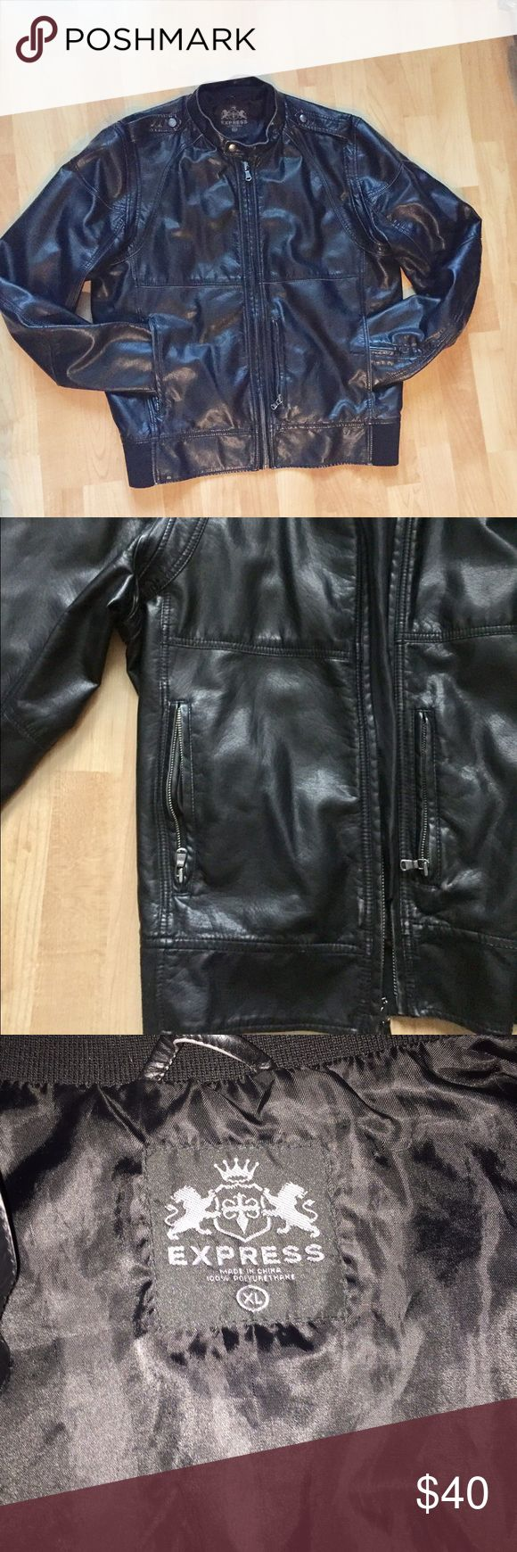 "Men's Express faux leather jacket Men's black faux leather motorcycle style jacket from Express. Size XL and 100% polyester. The bottom of the jacket on the back is knit. There is some slight fading and not very noticeable. All zippers work. Measurements (approximately): shoulder - 18.5""; chest - 23""; length - 27""; sleeves - 27"" Express Jackets & Coats"