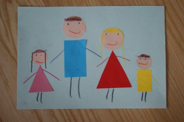 Rodzina praca plastyczna z figur geometrycznych dla przedszkolaków.  Family art work with geometric figures for preschoolers.