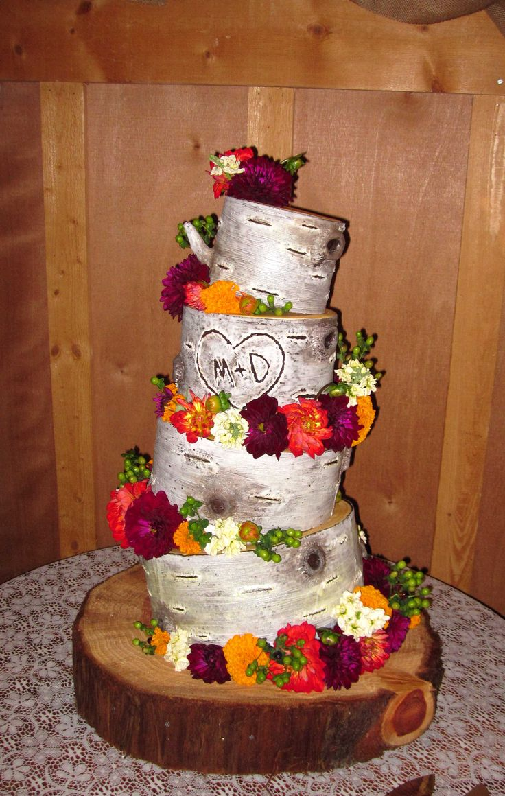 Tree stump ideas for wedding - Wooden Wonderland Wedding Cake Bride Wanted Wedding Cake To Resemble Birch Tree Stumps Topsy