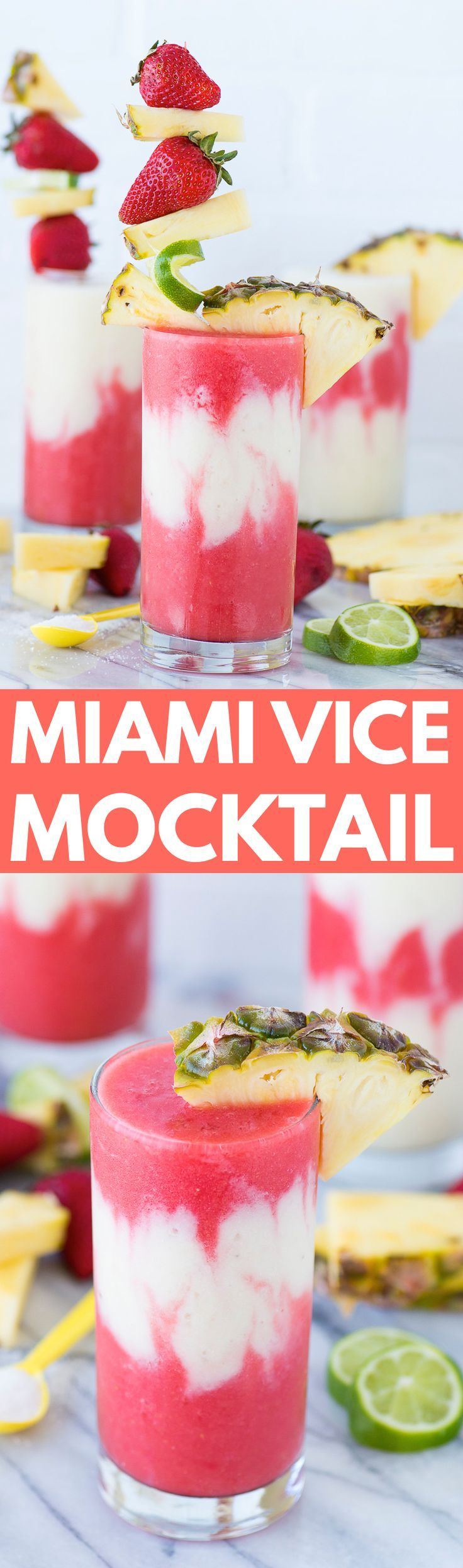 The best miami vice mocktail! Half strawberry daiquiri half pina colada layered in one glass. A tropical non-alcoholic lava flow!