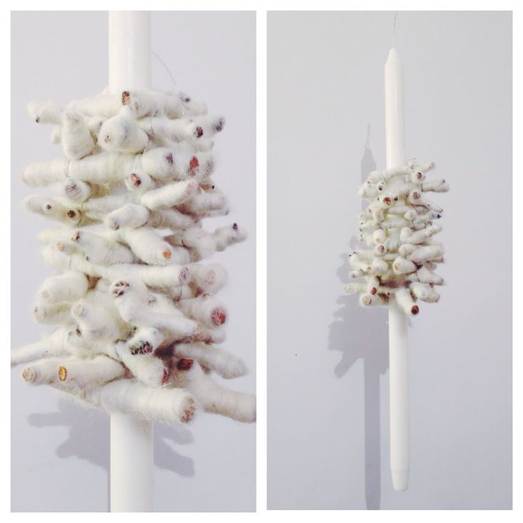 Wool and twigs bridal candle by NO NO NO