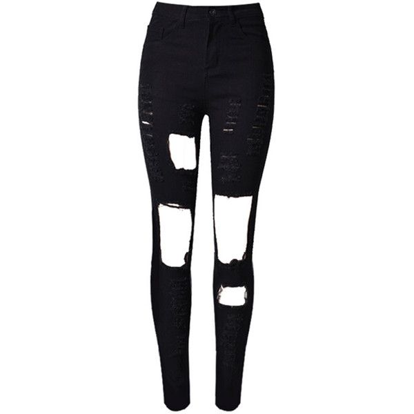 Black Cut Out Rips Detail Skinny Jeans (£30) ❤ liked on Polyvore featuring jeans, pants, bottoms, calças, ripped jeans, cutout jeans, destructed skinny jeans, distressed skinny jeans and destroyed denim skinny jeans
