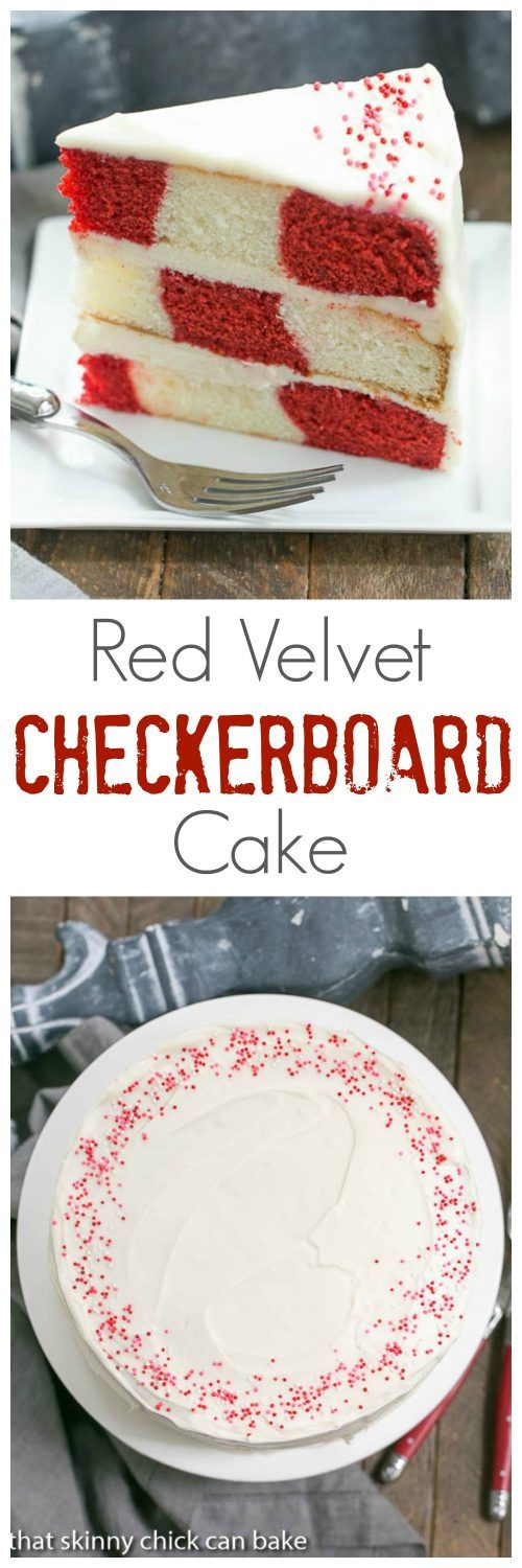 Red Velvet Checkerboard Cake | A showstopper of a celebratory cake! ~ That Skinny Chick Can Bake