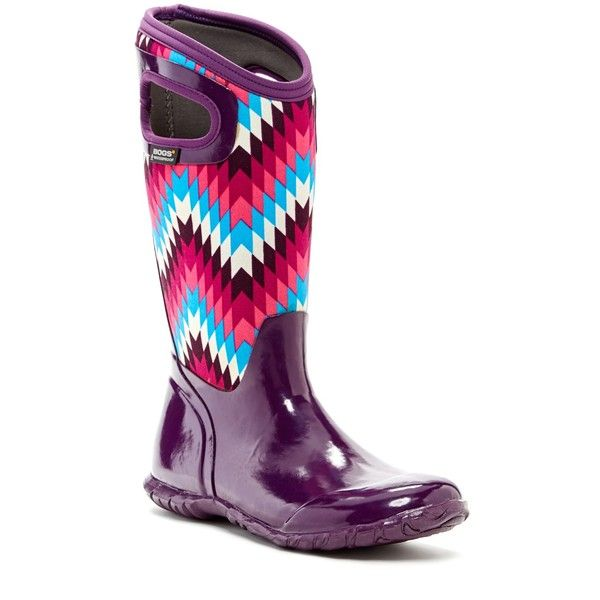 Bogs N. Hampton Native Rain Boot ($70) ❤ liked on Polyvore featuring shoes, boots, mid-calf boots, purple multi, bogs boots, cut-out boots, rain boots, mid calf rain boots and slip on rubber boots