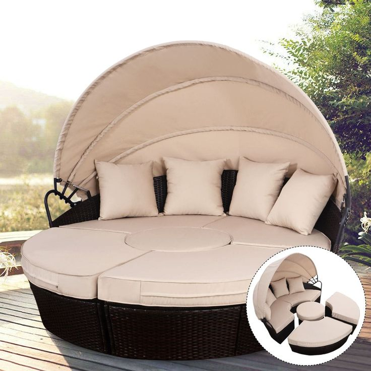 Costway Outdoor Mix Brown Rattan Patio Sofa Furniture Round Retractable Canopy Daybed, Patio Furniture (Steel)