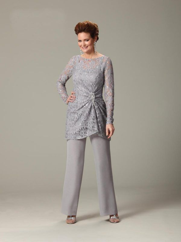 Scoop Lace Silver Work Dresses