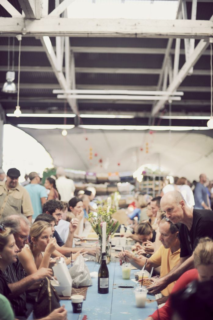 Eating at Neighbourgoods Market in Cape Town, South Africa.