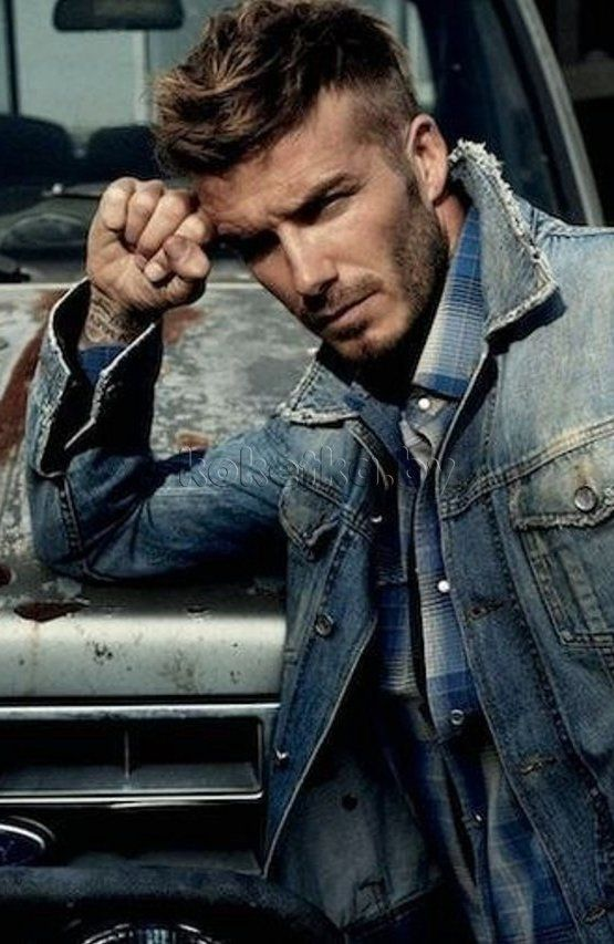 David #Beckham in #denim jacket.