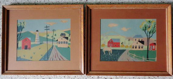 Set of 2 Vintage Folk Art Water Color Paintings Signed and Framed, Landscape and Barn Scenes, Rustic, Farmhouse, Cabin, Vintage Americana #folkart #paintings #homedecor #farmhouse #cabin #rusticdecor