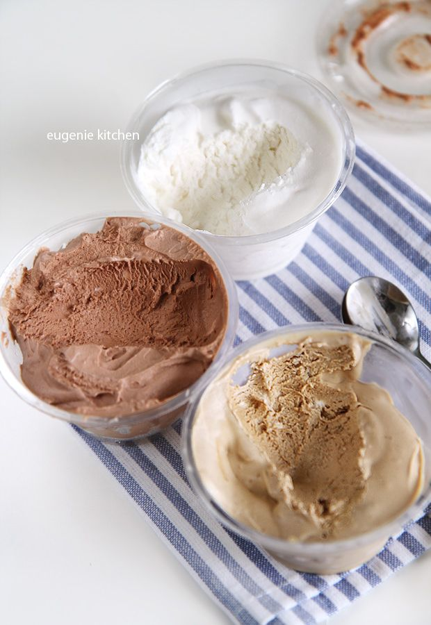 3 Ingredients Only! No-churn homemade ice cream in three flavors: chocolate, coffee, and vanilla. Eugenie Kitchen