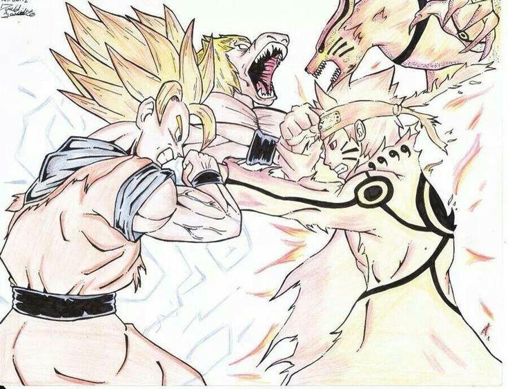 Goku  The monkey Vs Naruto  kurama the fox Naruto X DBZ