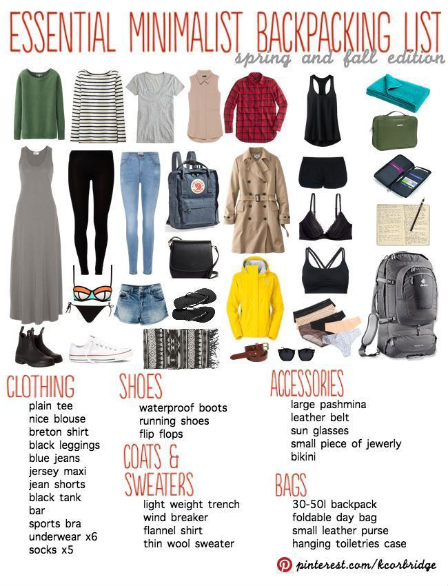 Minimalist Backpacking Packing List. Not sure who needs a maxi dress when backpacking, but okay, sure. Why not?