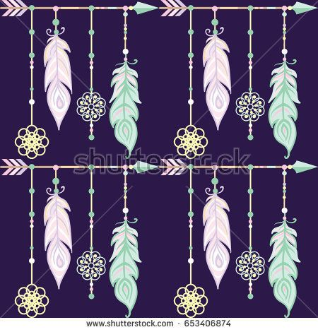 SEAMLESS TRIBAL PATTERN - BACKGROUND WITH ARROWS AND FEATHERS - DREAM CATCHER - HAND DRAWN VECTOR ILLUSTRATION