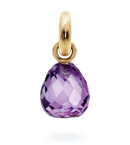 Ole Lynggaard Copenhagen Sweet Drop charm Purple Amethyst faceted on 18ct yellow gold - Kennedy Jewellers