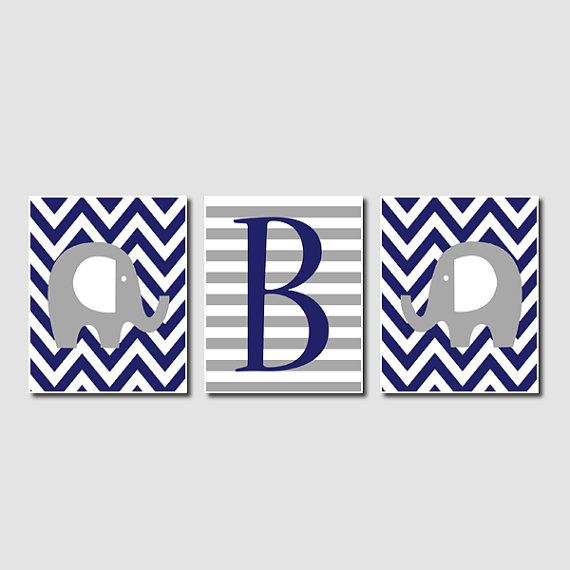 Elephant Nursery Art Chevron Initial Bright Bold Navy Blue Gray Grey Set of 3 Prints Baby Boy Nursery Art Decor Wall Art Picture Safari