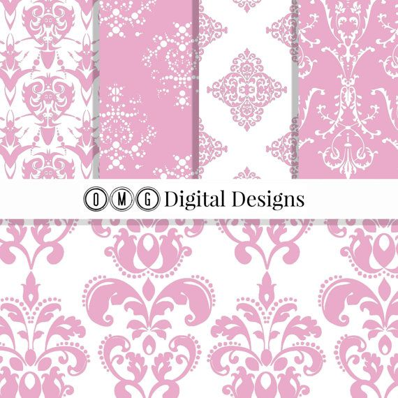 Rose Pink Damask Digital Paper: Pink Damask by OMGDIGITALDESIGNS