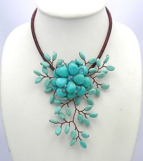 bridesmaid gifts,Holiday Party Jewelry,Summer Necklace,turquoise necklace With Turquoise  Flower. $18.00, via Etsy.