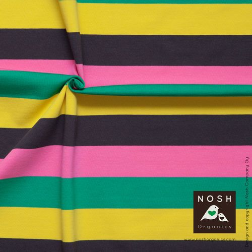 Multicolor Stripes, Pink. NOSH organic cotton jersey