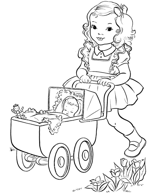 girl with doll buggy