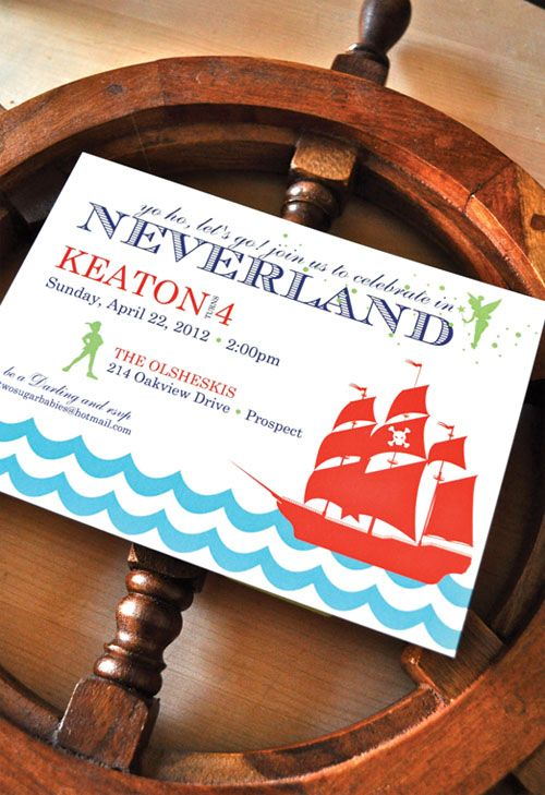Neverland themed party invitation