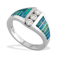 White Gold Kabana Ring with Opal Inlay and Diamonds - Opal Inlay - Kabana Jewelry - Designer Collections - Shop