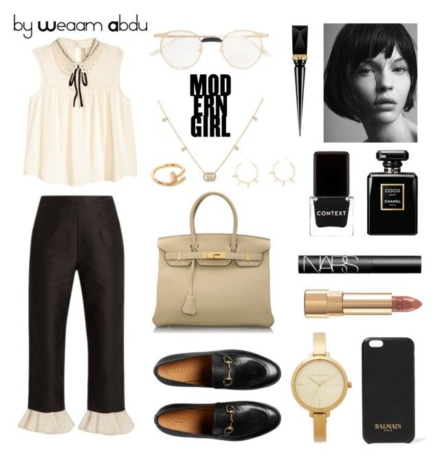 """beige. black"" by weaam-abdu on Polyvore featuring Isa Arfen, H&M, Hermès, Michael Kors, Balmain, Gucci, Dolce&Gabbana, NARS Cosmetics, Cartier and Justine Clenquet"