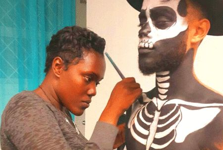 """Barbados Nation News writes that Kimberly Proverbs is an artist, but not in the traditional sense: """"Instead of a canvas or paper, the face painter uses sponges and brushes to create her designs."""" P…"""