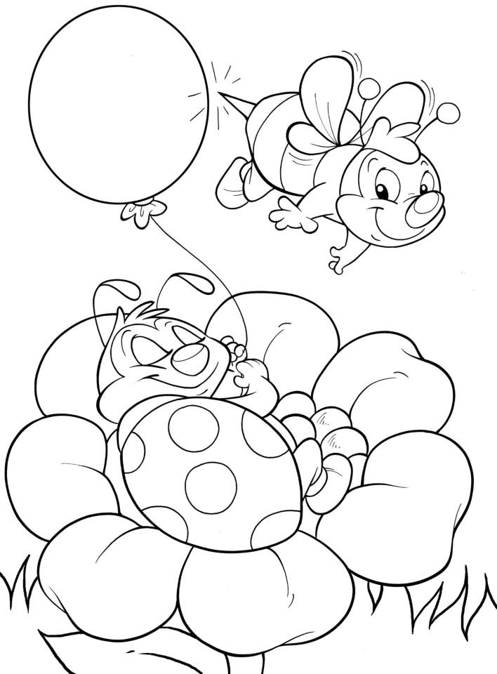 coloring page. ladybug and bumble bee coloring page.