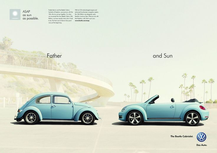 """VW Beetle Cabriolet """"Father and Sun"""" Campaign / #Ad #Advertising"""