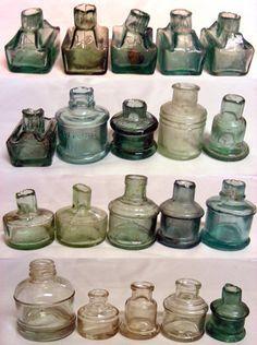 Collection of vintage ink bottles