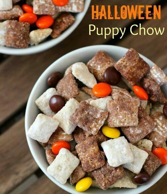 Halloween puppy chow- The only kind of puppy I'm ok eating! I ALWAYS make this around Christmas and we call it Reindeer Food. But this is super cute!