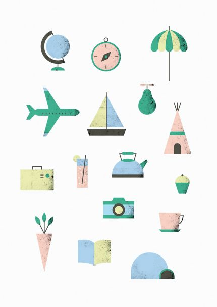 Lovely colour pallet in this illustration by Noémie Cédille. Making us want to head off on a little adventure.