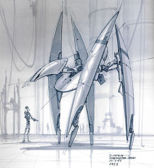 Star Wars Starfighter Droid concept art 1997