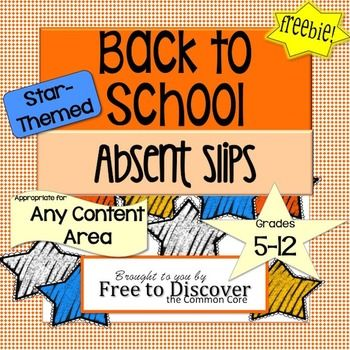 """FREE Back to School Classroom Form: """"While You Were Out…"""" Absent Slips. -Product includes both color and gray scale copies. -Great resource for helping students stay organized if they have been out! -Have a designated student fill in the information and attach it to any handouts from that day. Allocate space in the classroom for the absent work to go so that students can easily access it when they return. I hang absent work on a """"While You Were Out…"""" bulletin board."""
