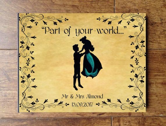 Little Mermaid Personalised Wedding Guest Book by CleanCupMoveDown